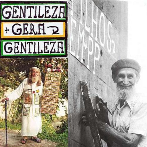 Profeta Gentileza escribiendo en los pilares del viaducto.